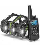 Collier d'entraînement de chien électrique 800 m avec écran LCD télécommande PET Colliers rechargeables imperméables pour le son des vibrations de choc