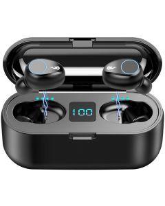 F9 TWS Bluetooth sans fil Bluetooth 5.0 Earbuds, Écouteurs de sport à l'eau imperméables IPX7