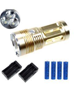 Eternalfire King 3T6 3 * CREE XM-L T6 LED TORCH 3000 Lumens 3 modes LED lampe de poche-Glod-Complete Set