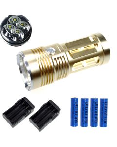 Eternalfire King 4T6 4 * CREE XM-L T6 LED TORCH 4000 Lumens 3 modes LED lampe de poche-Glod-Complete Set