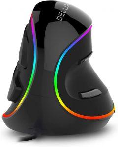 Delux M618 Plus ergonomie Souris de jeu vertical 6 boutons 4000 dpi RVB Wired / Sans fil souris à droite pour ordinateur portable PC