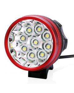 9T6 vélo Light 9 * Cree XM-L T6 10800 Lumens 3 modes LED vélo phare incluent batterie et chargeur - rouge