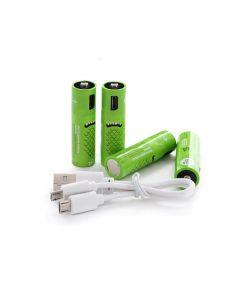 Batteries AA rechargeables Batterie 1000mAh avec ports USB haute capacité 1.2V NiMH NIMH Batterie rechargeable de la batterie rechargeable AA de chargement par câble USB (4 pack + câble USB)