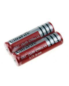Batterie de 18650 rechargeable de Ultrafire BRC 4200mAh 3.7V Li-ion (1 paire)