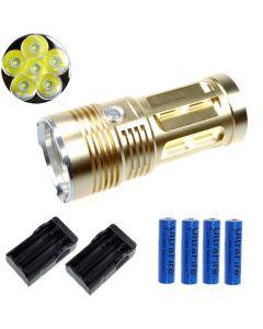 Eternalfire King 6T6 6 * CREE XM-L T6 LED TORCH 6000 LUMENS 3 modes LED lampe de poche-Glod-Complete