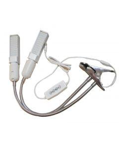 Cultivez la lumière, 50W à spectre complet de la lampe de cuisson, des lumières de plante de cycle de cygne à double tête pour des plantes intérieures avec ampoule remplaçable, 3 modes de commutation