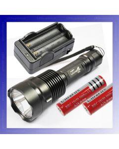 Ultrafire C12 Cree XM-L T6 1300 Lumens 5 modes LED lampe de poche + 2 * 18650 batterie + chargeur